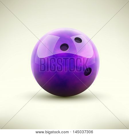 Violet bowling ball isolated realictic vector illustration