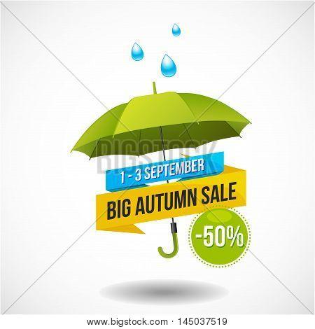 Big colorful autumn sale discount logo, emblem or sticker design with umbrella and rain