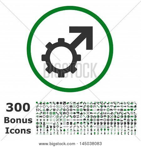 Technological Potence rounded icon with 300 bonus icons. Vector illustration style is flat iconic bicolor symbols, green and gray colors, white background.