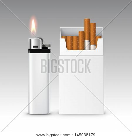 Vector Set of Blank White Plastic Metal Lighter with Flame with  Pack of Cigarettes Close up Isolated on White Background