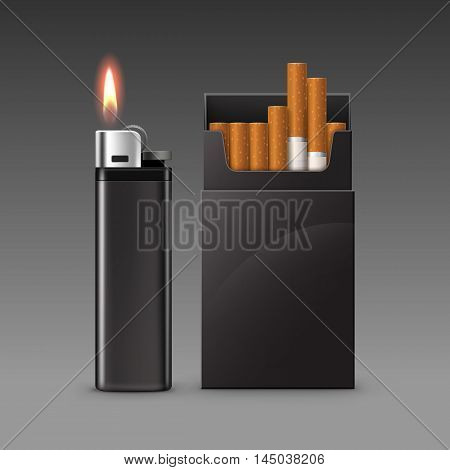 Vector Set of Blank Black Plastic Metal Lighter with Flame with  Pack of Cigarettes Close up Isolated on Dark Background