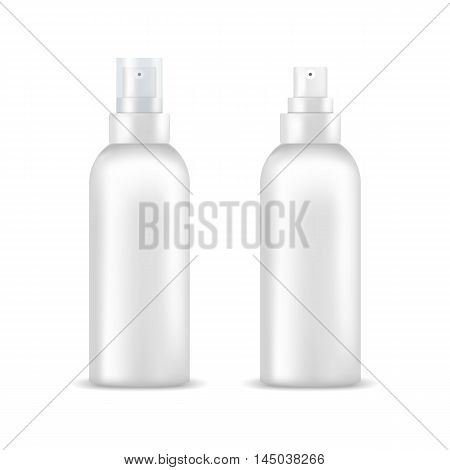 Set of white blank spray bottles. Mock up, cosmetic package