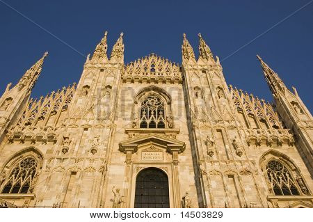 The impressive marble facade of the dome Santa Maria Nascente in Milan - Italy