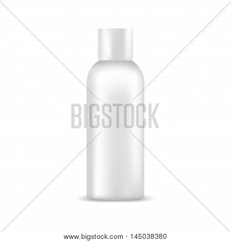 White blank bottle with cap. Mock up, cosmetic package