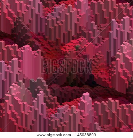 Abstract Background With 3D Red Cubes. Vector Cube Box For Business Concepts.