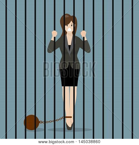 Business woman with weight in prison. Business concept