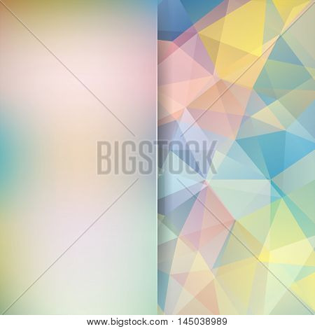 Background Of Geometric Pastel Colorful Shapes. Blur Background With Glass. Colorful Mosaic Pattern.