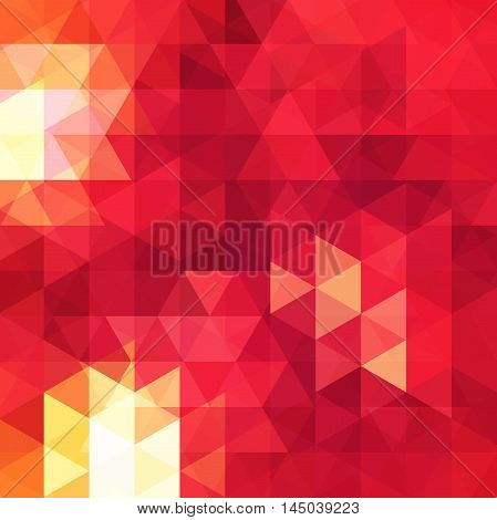 Background Of Geometric Yellow, Red Shapes. Abstract Triangle Geometrical Background. Mosaic Pattern