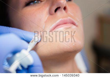 Hyaluronan anti aging treatment, close up, horizontal image