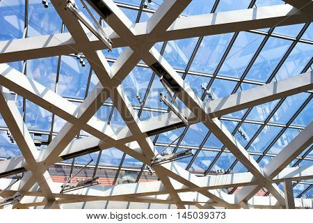 Berlin Germany August 2016: Glass roof architecture