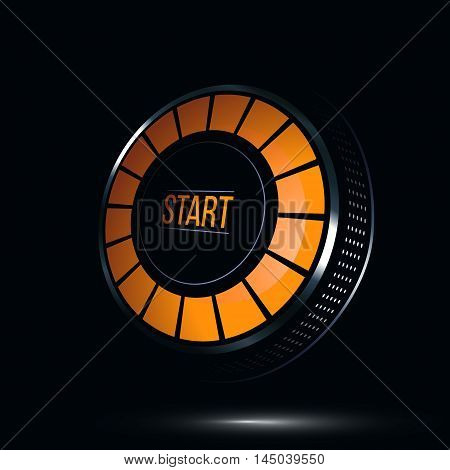 Glossy start button. Power button icon. Vector illustration