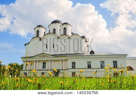 Summer view of St Nicholas Cathedral - one of the oldest cathedrals of Novgorod at the Yaroslav Courtyard Veliky Novgorod Russia - architecture landscape