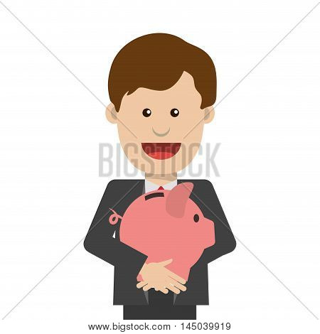 businessman piggy necktie man male cartoon suit business icon. Flat and isolated design. Vector illustration
