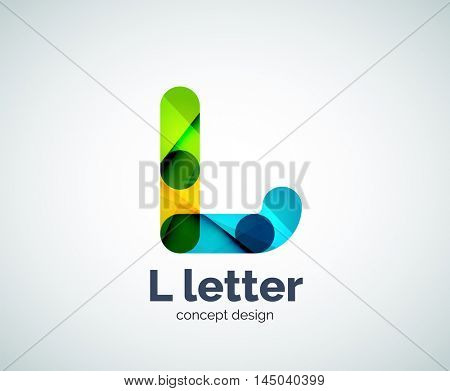 Vector L letter logo, abstract geometric logotype template, created with overlapping elements