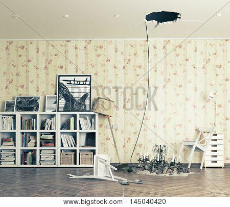 broken ceiling in the room and fallen chandelier