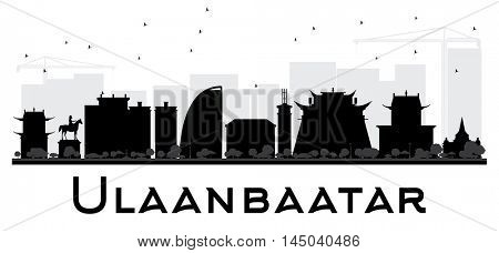 Ulaanbaatar City skyline black and white silhouette. Vector illustration. Simple flat concept for tourism presentation, banner, placard or web site. Business travel concept. Cityscape with landmarks