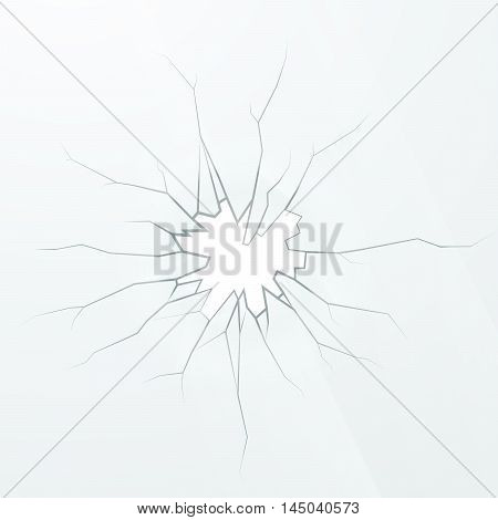 Realistic broken glass on a white background square illustration