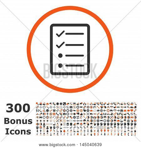 Checklist Page rounded icon with 300 bonus icons. Vector illustration style is flat iconic bicolor symbols, orange and gray colors, white background.