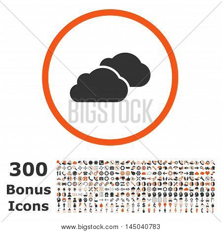 Clouds rounded icon with 300 bonus icons. Vector illustration style is flat iconic bicolor symbols, orange and gray colors, white background.
