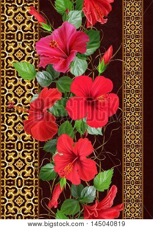 Vertical floral border. Pattern seamless. Flower garland weaving of thin branches red tropical hibiscus flowers. Golden delicate mosaic.