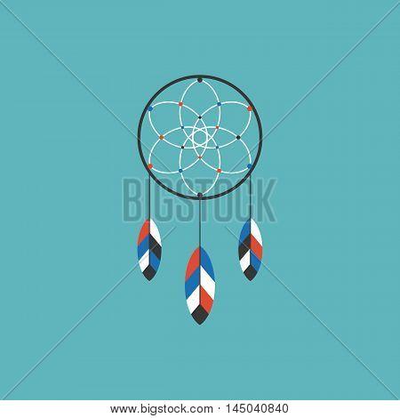 Dream catcher of native american icon, flat design vector