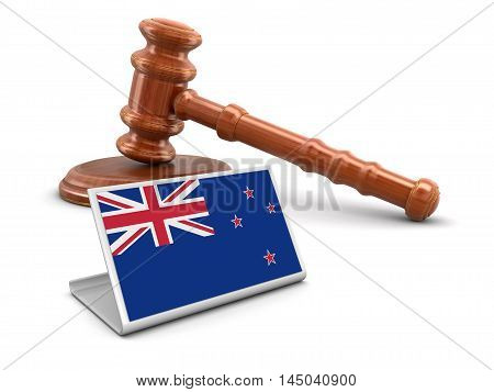 3D Illustration. 3d wooden mallet and New Zealand flag. Image with clipping path