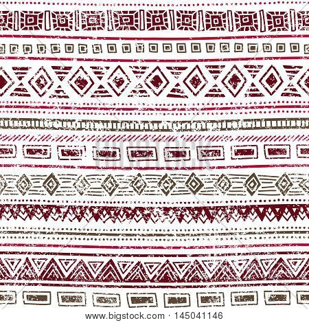 Seamless ethnic pattern. Geometric elements on a white background. Pink and gray colors. Vintage illustration with tribal motifs. Striped grunge background. Handmade vector ornament. Cute print.