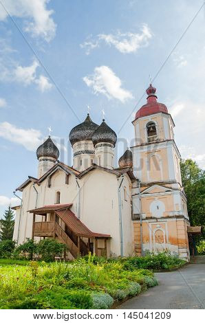 Church of St Theodore Stratilates on the Shirkov street Veliky Novgorod Russia - facade view of cathedral and belfry. Architecture summer landscape