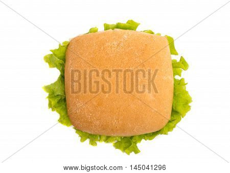 hamburger american bun on a white background