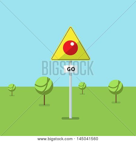 Fictional road sign the place where they play in the modern mobile game. Vector illustration