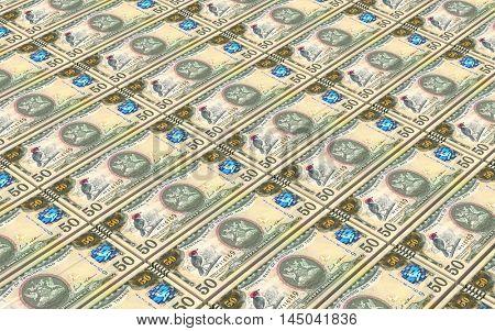 Trinidad and Tobago dollar bills stacks background. 3D illustration.