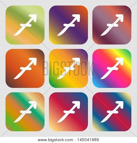 Sagittarius Sign Icon . Nine Buttons With Bright Gradients For Beautiful Design. Vector