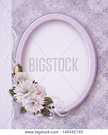 Oval photo frame. Bouquet of pink and pastel roses. Flower composition. Openwork lace weaving of pearls. Vintage style.