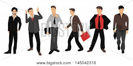 Set of full length portraits business people isolated on white background. Vector illustration for smart design. Group handsome men. Success collection. Businessman. Formal mid age crowd team. Cartoon