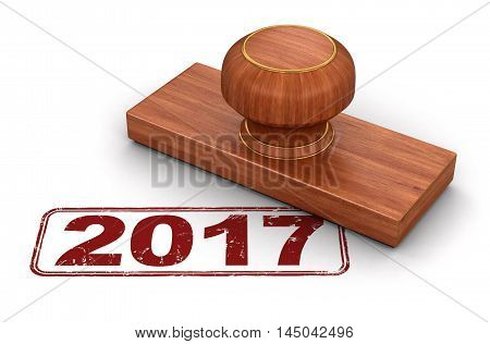 3D Illustration. 3d wooden mallet and 2017. Image with clipping path