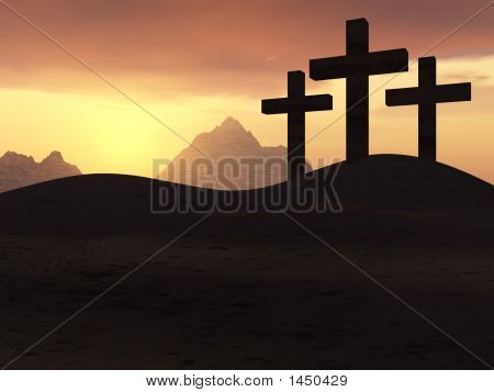 Three Crosses Yellow Sunset