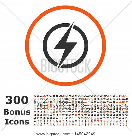 Electricity rounded icon with 300 bonus icons. Vector illustration style is flat iconic bicolor symbols, orange and gray colors, white background.