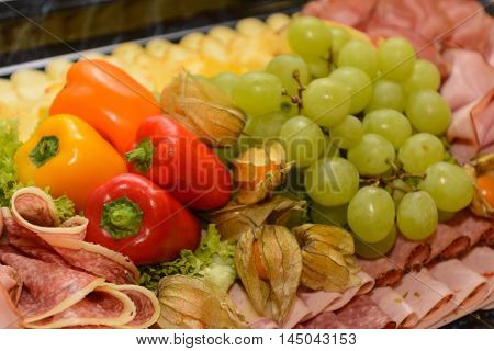 decorative and varied designed cold buffet - healthy
