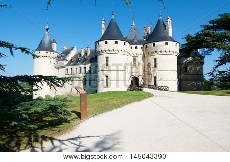 Entrance to the castle of Chaumont Sur Loire, Loire Valley, France. Originally built in the 10th century.