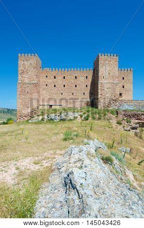 Siguenza Castle, of Arab origin was built in the 12th century is now Parador Nacional de Turismo, Guadalajara, Castilla La Mancha, Spain.