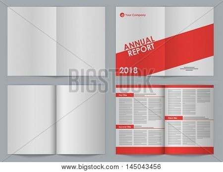Blank A4 booklet front and back two-page spread vector template with simple design sample. Organized EPS10 file with separate layer for design.