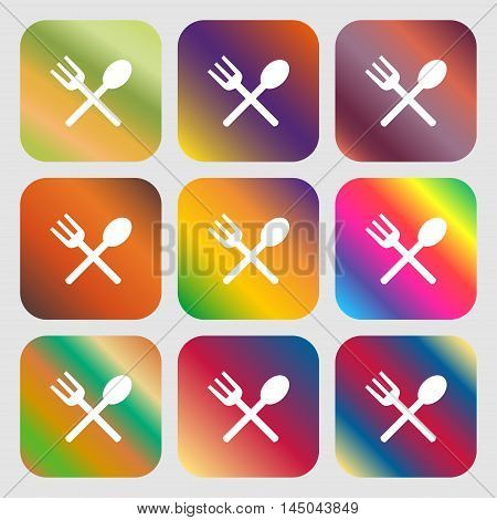 Fork And Spoon Crosswise, Cutlery, Eat Icon Sign . Nine Buttons With Bright Gradients For Beautiful