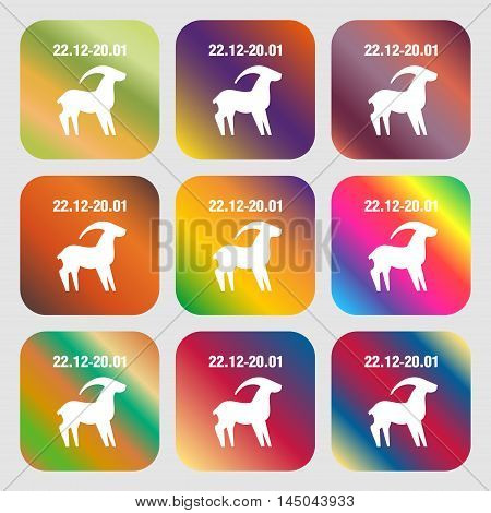 Capricorn Sign Icon . Nine Buttons With Bright Gradients For Beautiful Design. Vector