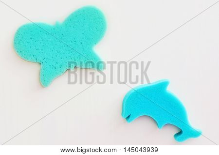 Bright blue sponges for bathing children on a white background