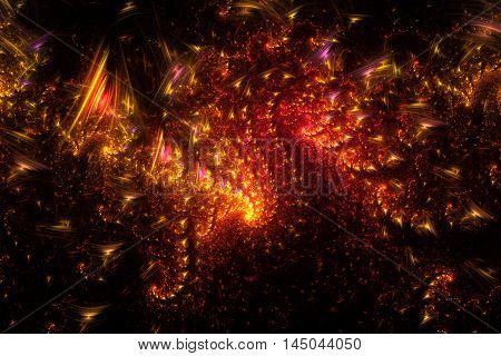 Bright galaxy. Abstract glowing red orange and yellow sparks on black background. Fantasy fractal texture for posters or t-shirts. Digital art. 3D rendering.