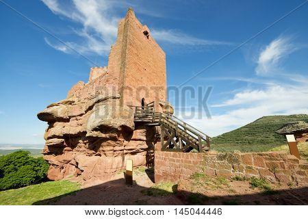 Upper section of Peracense Castle, X-XI centuries, in Teruel province, Aragon, Spain