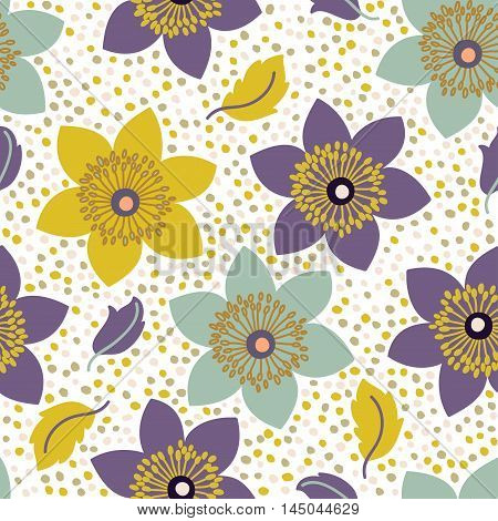 Seamless Pattern With Narcissus Flowers. Can Be Used For Web And Book Design, Home Decor, Fashion Te