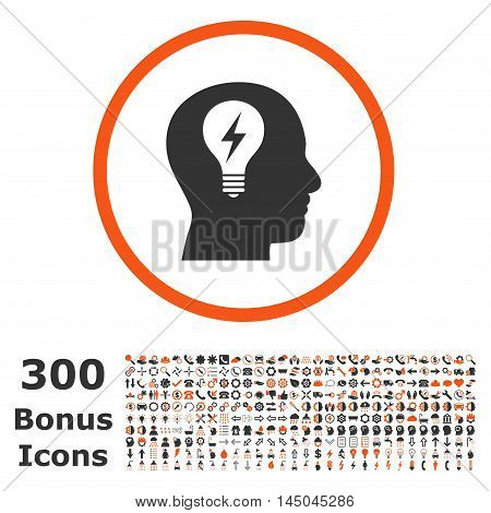 Head Bulb rounded icon with 300 bonus icons. Vector illustration style is flat iconic bicolor symbols, orange and gray colors, white background.