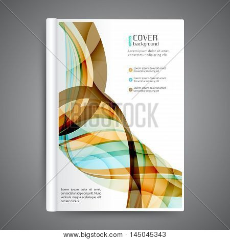 Color book design template. Annual report design. Cover design with abstract lines and waves