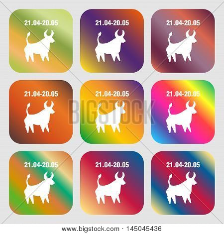 Taurus Sign Icon . Nine Buttons With Bright Gradients For Beautiful Design. Vector